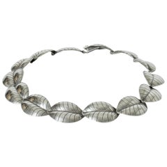 Silver Leaves Collier from Kaplans, Sweden, 1957