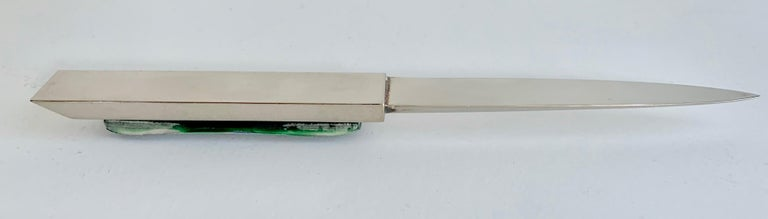 Silver Letter Opener with Blue Glass For Sale 4