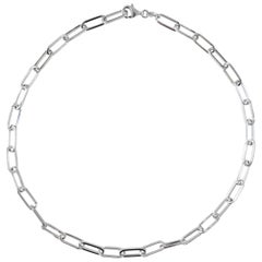 Silver Link Necklace, Paperclip, Sterling Silver, 5.9mm Paper Clip, 18 Inches