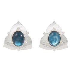 Silver London Blue Topaz Earrings