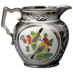 Silver Luster Pottery Pitcher with Enamel Colored Panels of Birds on a Thistle