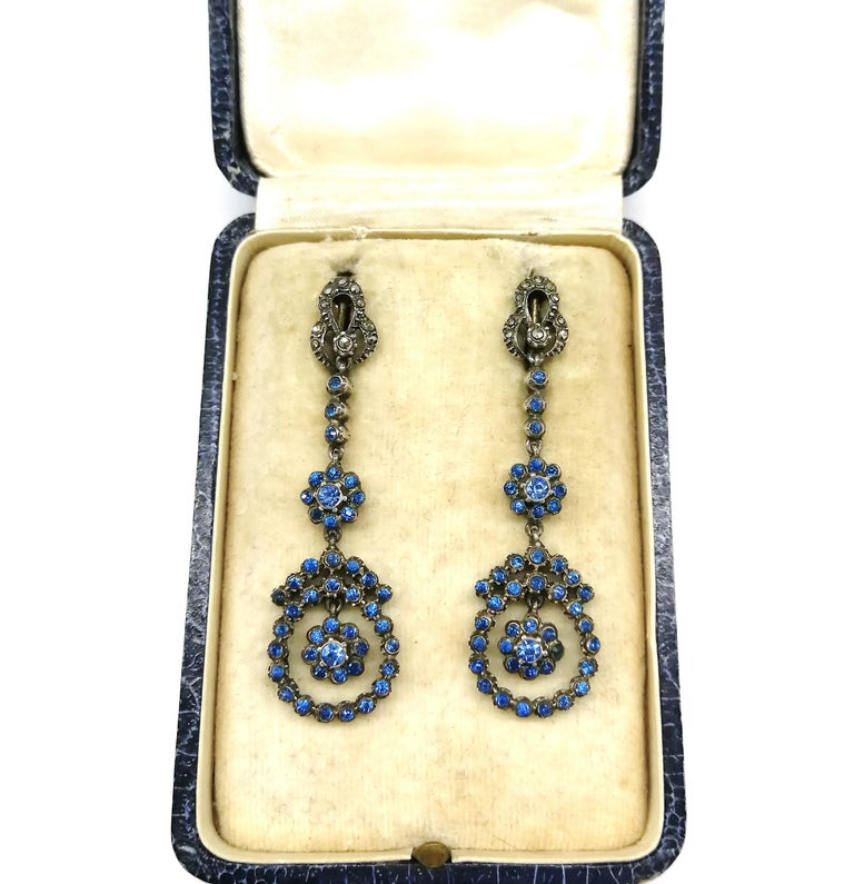 Silver, marcasite and mid blue paste drop earrings, French, 1920s For Sale 6