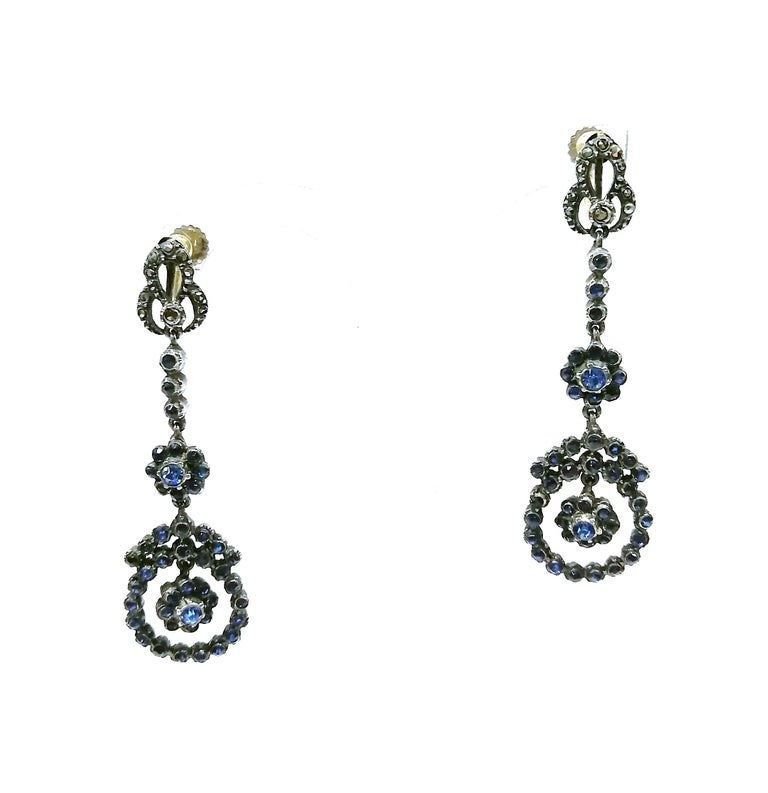 Women's Silver, marcasite and mid blue paste drop earrings, French, 1920s For Sale