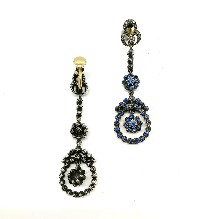 Silver, marcasite and mid blue paste drop earrings, French, 1920s For Sale 1