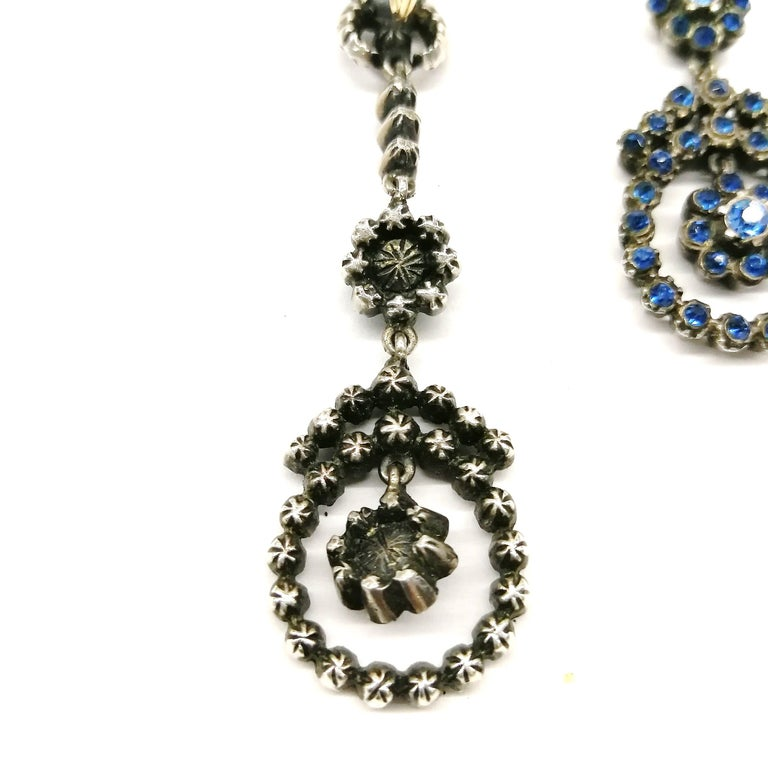 Silver, marcasite and mid blue paste drop earrings, French, 1920s For Sale 2