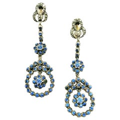 Silver, marcasite and mid blue paste drop earrings, French, 1920s