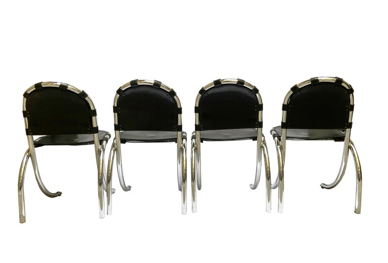 Mid-Century Modern Silver Metal Chairs Studio Tetrark Medusa 1960s Bazzani Made in Italy For Sale