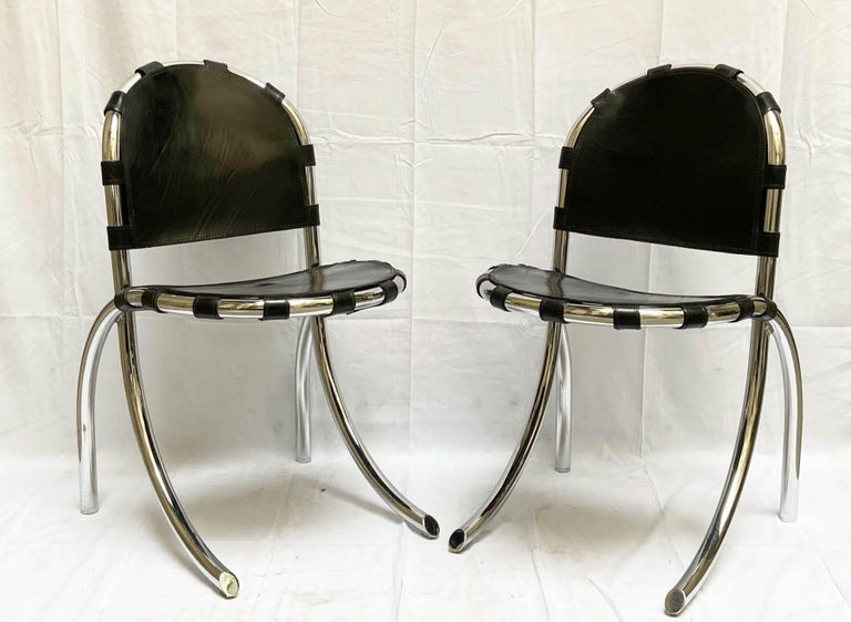 Italian Silver Metal Chairs Studio Tetrark Medusa 1960s Bazzani Made in Italy For Sale