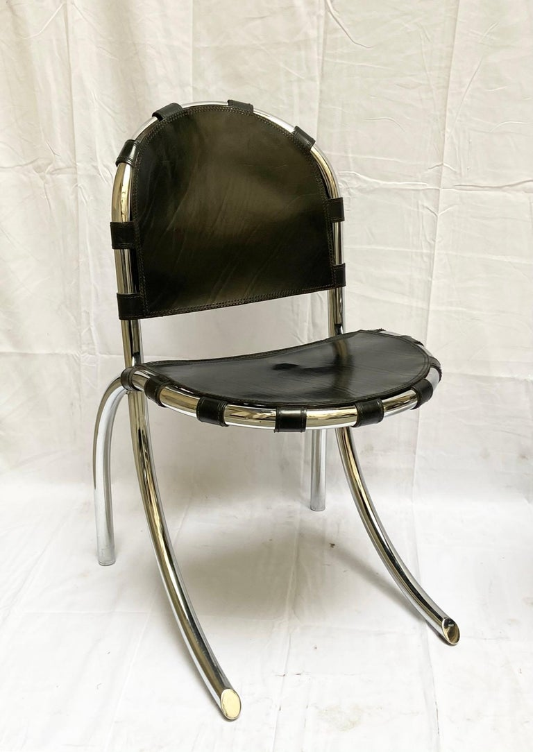 Silver Metal Chairs Studio Tetrark Medusa 1960s Bazzani Made in Italy In Good Condition For Sale In Naples, IT