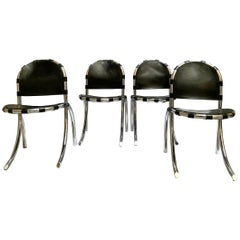 Silver Metal Chairs Studio Tetrark Medusa 1960s Bazzani Made in Italy