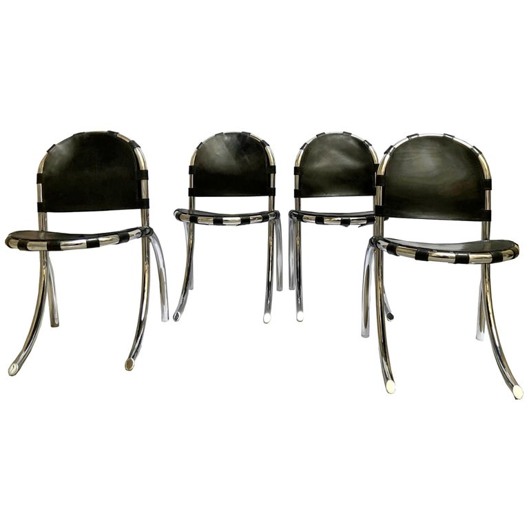 Silver Metal Chairs Studio Tetrark Medusa 1960s Bazzani Made in Italy For Sale