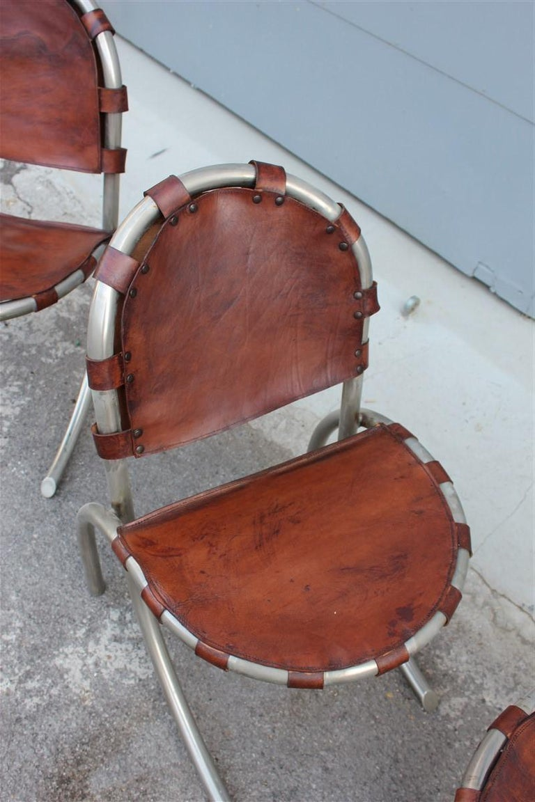 Silver Metal Chairs Studio Tetrark Medusa Calfskin 1960s Bazzani Made In Italy For Sale 4