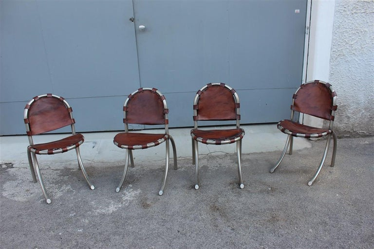 Silver metal chairs Studio Tetrark Medusa Calfskin 1960s Bazzani Made In Italy. The calf leather has some spots of originality, but no tearing.