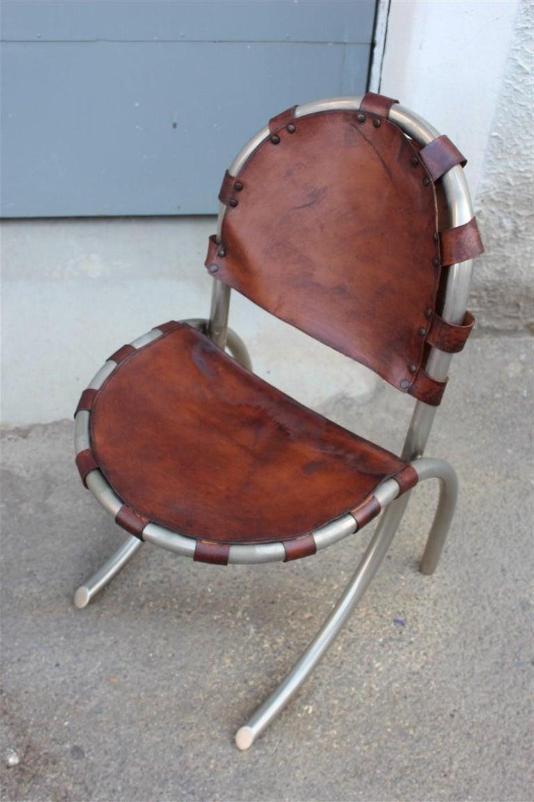 Mid-Century Modern Silver Metal Chairs Studio Tetrark Medusa Calfskin 1960s Bazzani Made In Italy For Sale