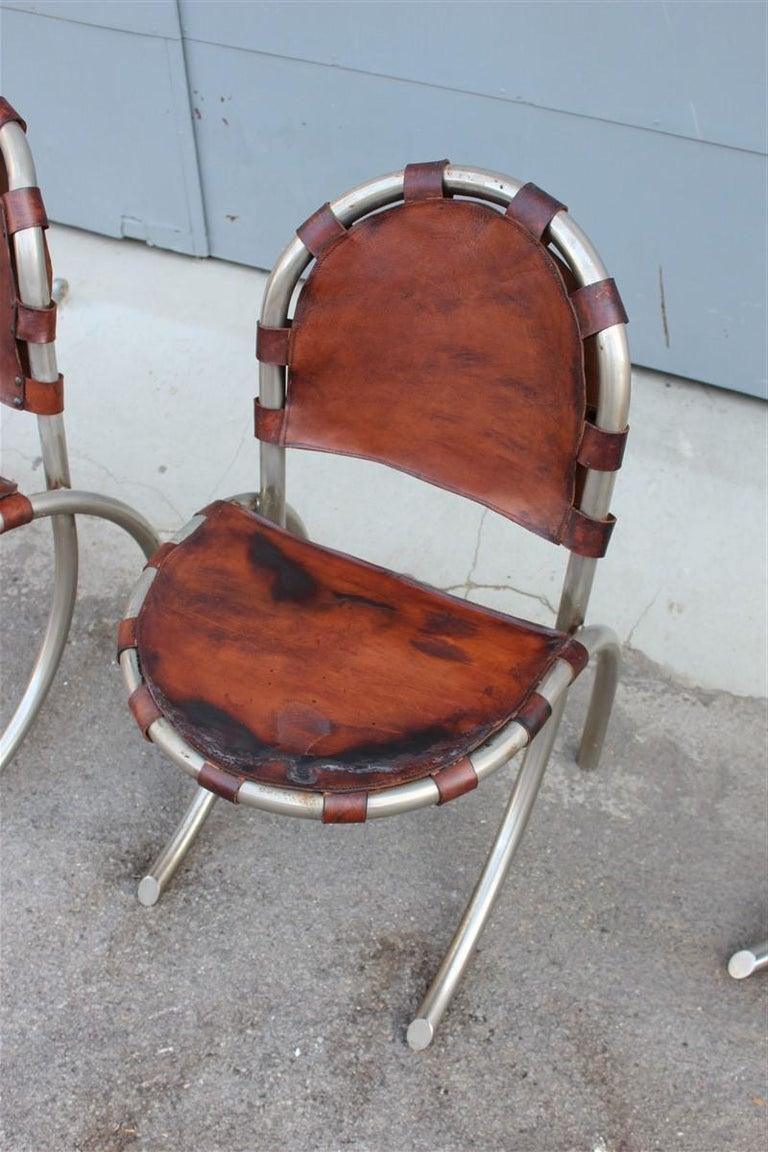 Italian Silver Metal Chairs Studio Tetrark Medusa Calfskin 1960s Bazzani Made In Italy For Sale