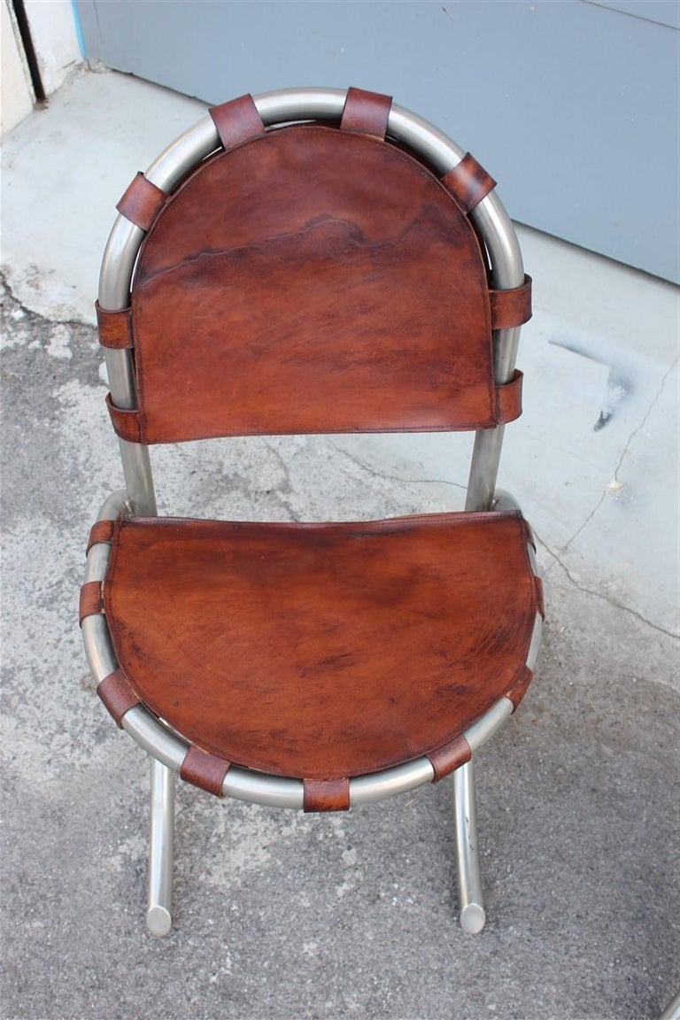 Mid-20th Century Silver Metal Chairs Studio Tetrark Medusa Calfskin 1960s Bazzani Made In Italy For Sale