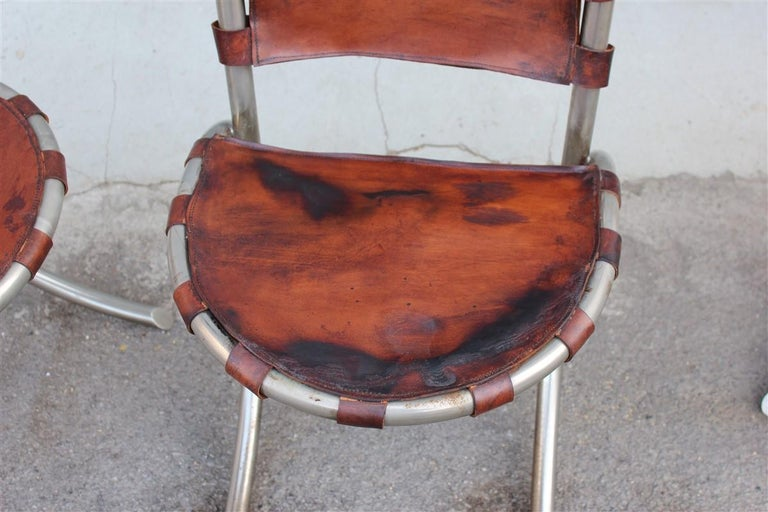 Silver Metal Chairs Studio Tetrark Medusa Calfskin 1960s Bazzani Made In Italy For Sale 2