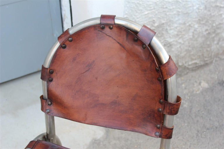 Silver Metal Chairs Studio Tetrark Medusa Calfskin 1960s Bazzani Made In Italy For Sale 3