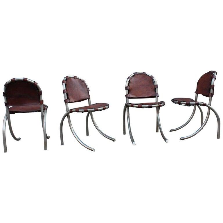 Silver Metal Chairs Studio Tetrark Medusa Calfskin 1960s Bazzani Made In Italy For Sale