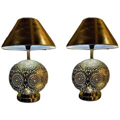 Silver Brass Filigree Moroccan Table Lamp, with Bottom & Upper Lights, a Pair