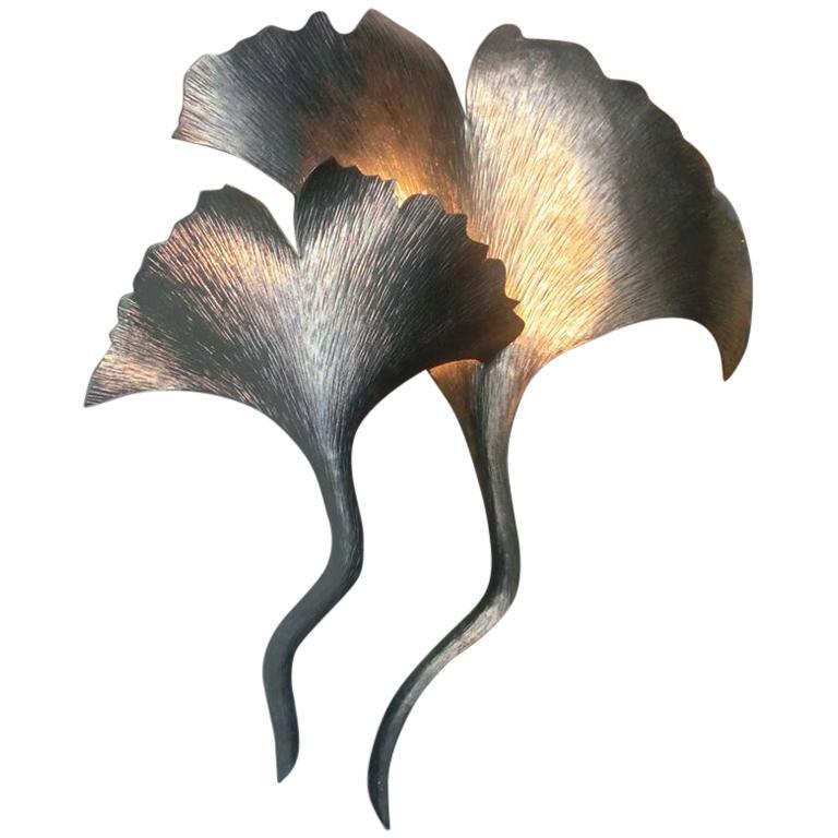 Silver Metal Gingko Leaf Wall Light