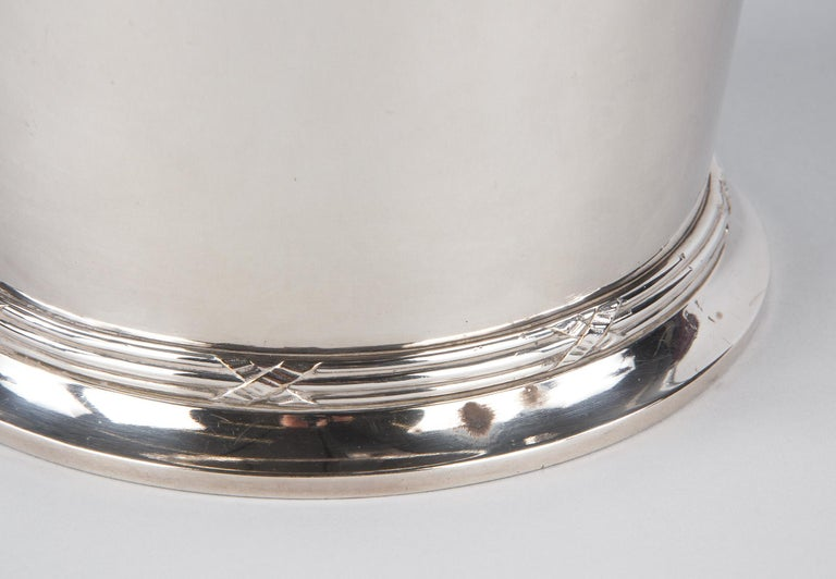 Silver Metal Ice Bucket with Top by Saglier Freres, France, 1940s For Sale 4