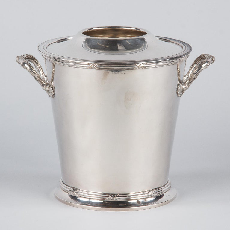 Silver Metal Ice Bucket with Top by Saglier Freres, France, 1940s For Sale 5