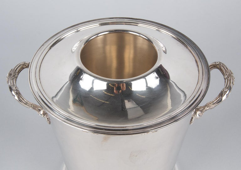 Silver Metal Ice Bucket with Top by Saglier Freres, France, 1940s For Sale 6