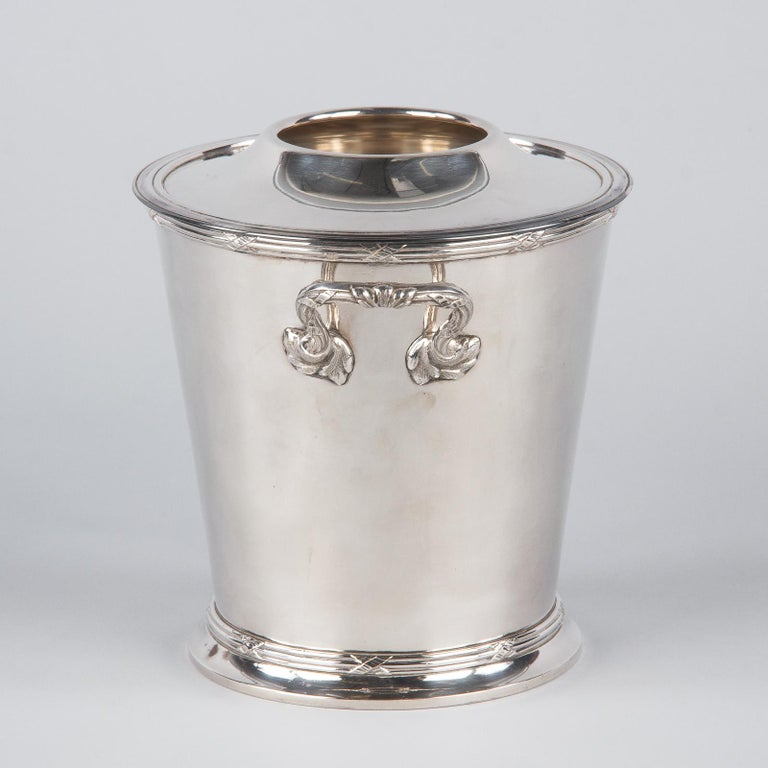 Silver Metal Ice Bucket with Top by Saglier Freres, France, 1940s For Sale 7