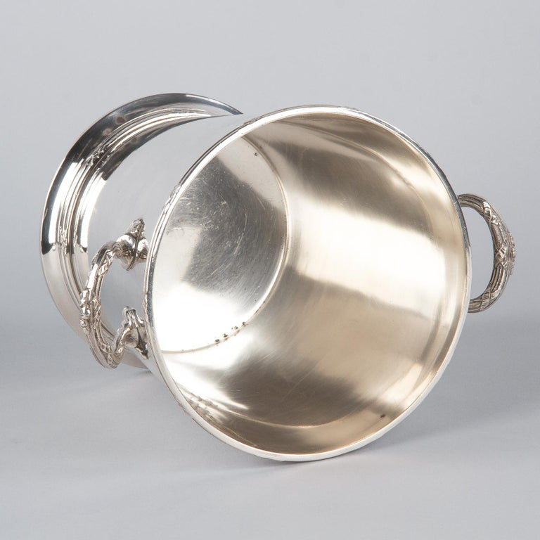Silver Metal Ice Bucket with Top by Saglier Freres, France, 1940s For Sale 8