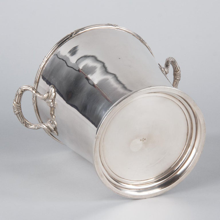 Silver Metal Ice Bucket with Top by Saglier Freres, France, 1940s For Sale 9