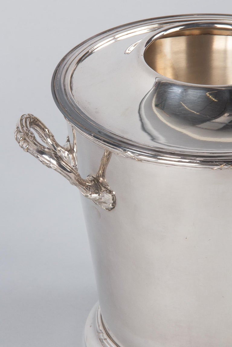 Silver Plate Silver Metal Ice Bucket with Top by Saglier Freres, France, 1940s For Sale