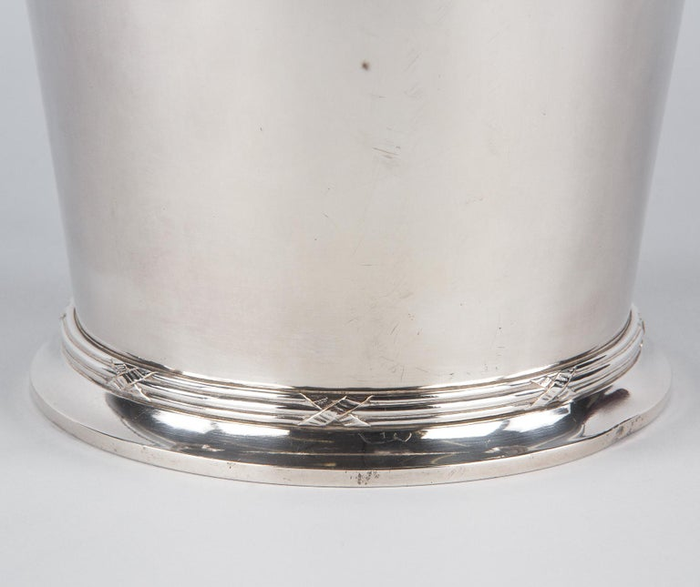 Silver Metal Ice Bucket with Top by Saglier Freres, France, 1940s For Sale 1