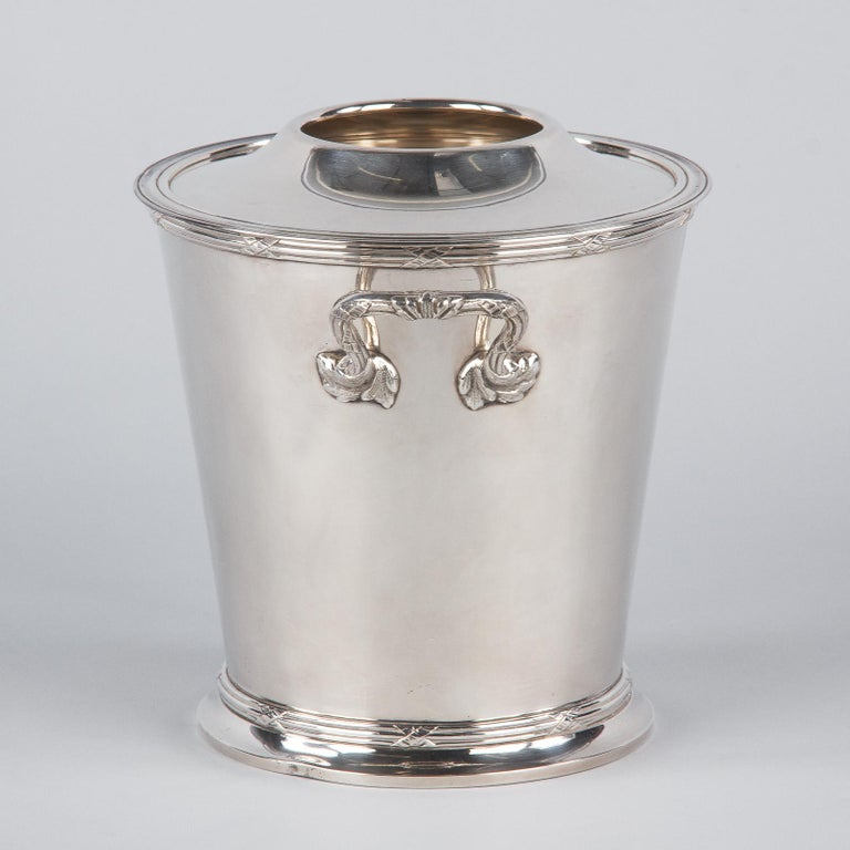 Silver Metal Ice Bucket with Top by Saglier Freres, France, 1940s For Sale 2
