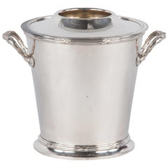 Silver Metal Ice Bucket with Top by Saglier Freres, France, 1940s