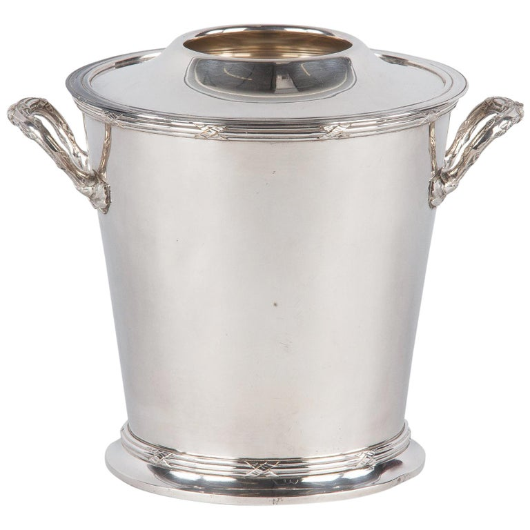 Silver Metal Ice Bucket with Top by Saglier Freres, France, 1940s For Sale