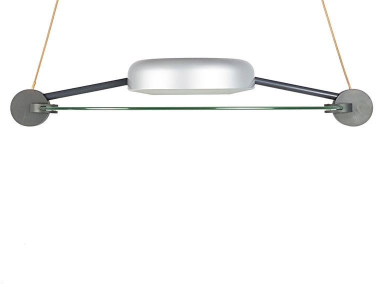 Late 20th Century Silver Metal and Sandblasted Glass 1985 Cyclos Pendant by De Lucchi for Artemide For Sale