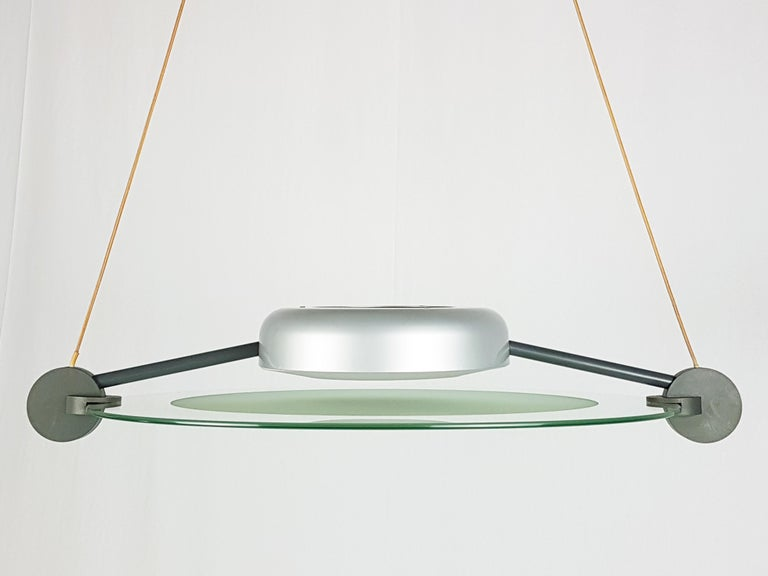 Aluminum Silver Metal and Sandblasted Glass 1985 Cyclos Pendant by De Lucchi for Artemide For Sale