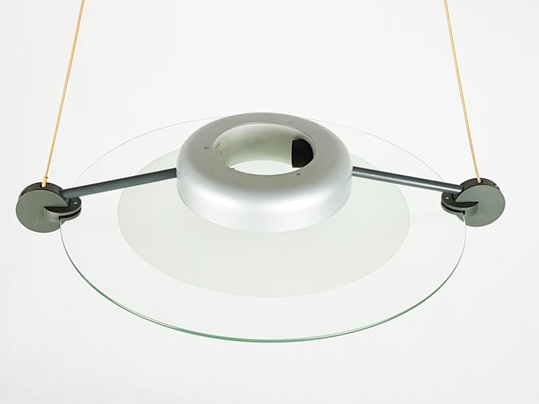 Silver Metal and Sandblasted Glass 1985 Cyclos Pendant by De Lucchi for Artemide For Sale 1