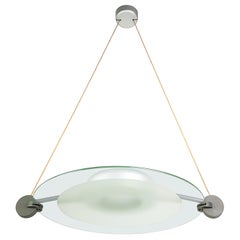 Silver Metal & Sandblasted Glass 1985 Cyclos Pendant by De Lucchi for Artemide