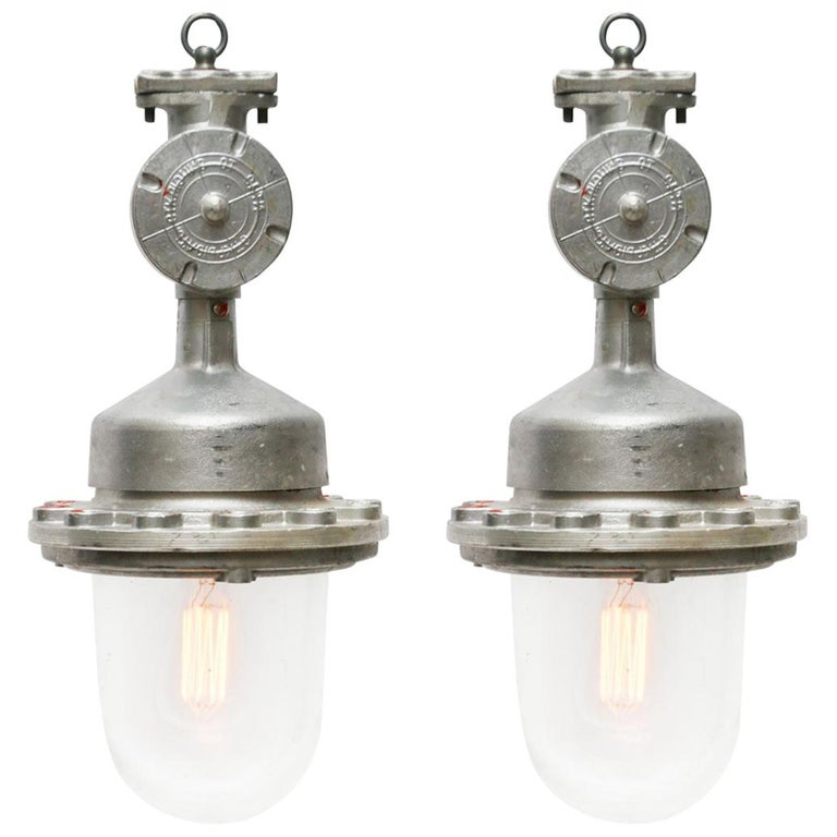 Silver Metal Vintage Industrial Clear Glass Pendant Lights For Sale