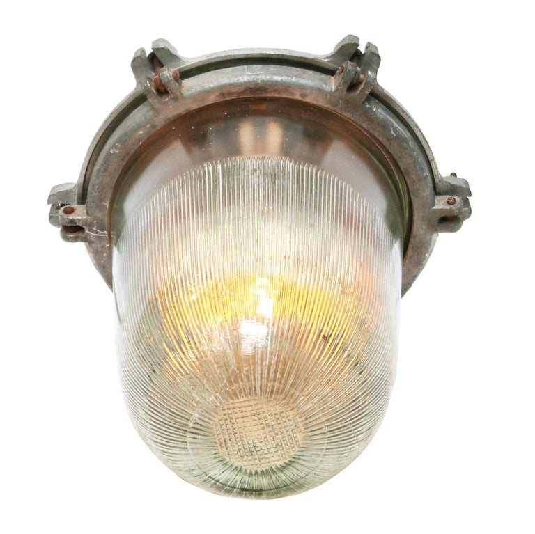 Ukrainian Silver Metal Vintage Industrial Striped Holophane Glass Pendant Lights For Sale