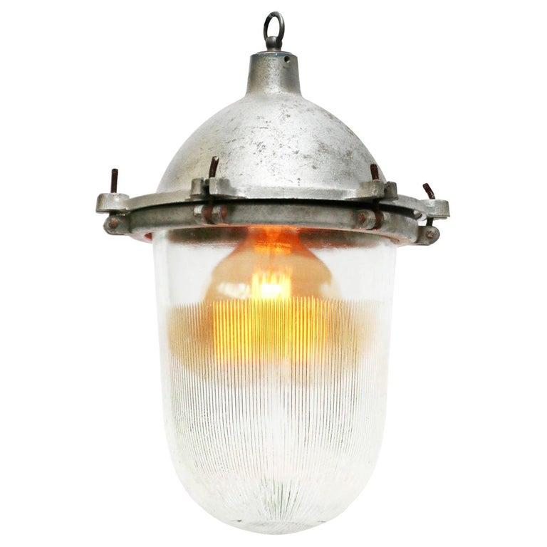 Silver Metal Vintage Industrial Striped Holophane Glass Pendant Lights For Sale