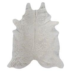 Silver Metallic Boho Batik Pattern Cream Cowhide Rug, Large