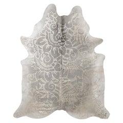 Silver Metallic Boho Batik Pattern Gray Cowhide Rug, Large