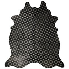 Silver Metallic Diamond Pattern Black Cowhide Rug, Medium