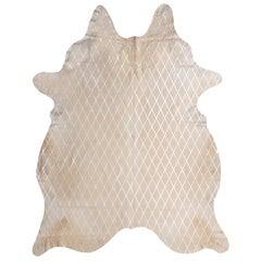 Silver Metallic Diamond Pattern Cream Cowhide Rug, Large