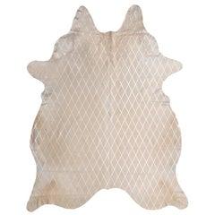 Silver Metallic Diamond Pattern Cream Cowhide Rug, Medium