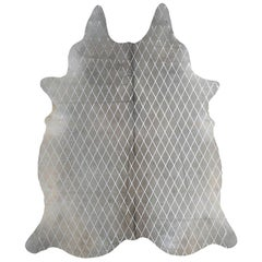 Silver Metallic Diamond Pattern Gray Cowhide Rug, Large