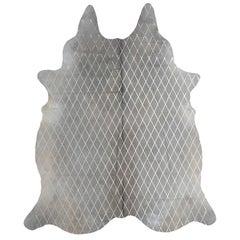 Silver Metallic Diamond Pattern Gray Cowhide Rug-Medium